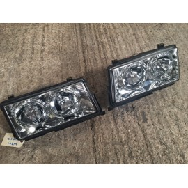 190E W201 Pair Of Chrome Reflector Look Aftermarket Retro Headlamp