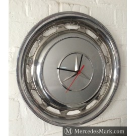 "MERCEDES 15"" 385mm STAINLESS STEEL HUB CAP QUARTZ CLOCK"